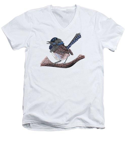 Blue Zen Wren Paisley Bird Men's V-Neck T-Shirt by Lorraine Kelly