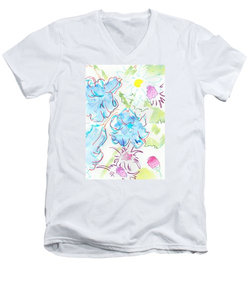 Bluebells English Wild Flowers Men's V-Neck T-Shirt