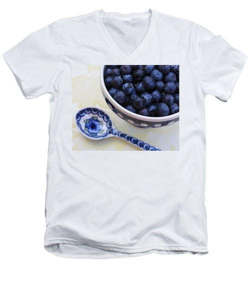 Blueberries And Spoon  Men's V-Neck T-Shirt