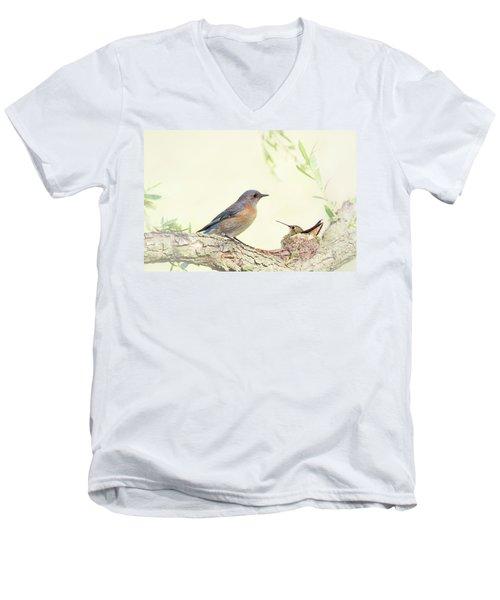 Bluebird And Baby Hummer Men's V-Neck T-Shirt