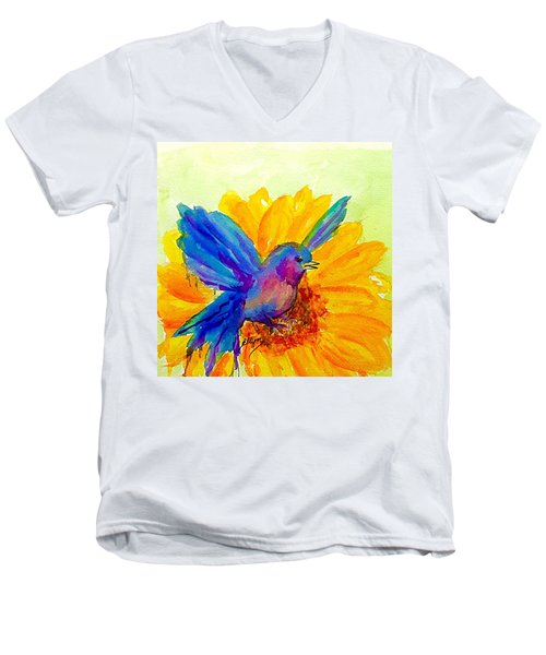 Bluebird On Sunflower  Men's V-Neck T-Shirt