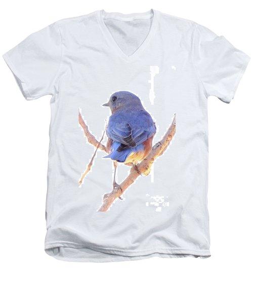 Bluebird On White Men's V-Neck T-Shirt by Robert Frederick