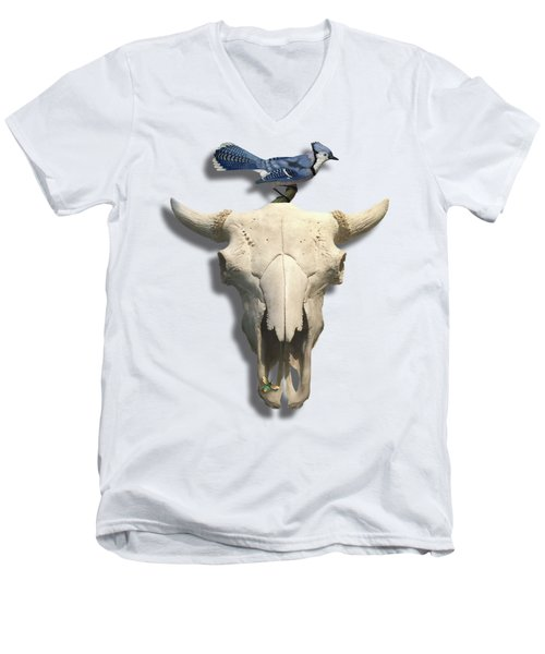 Bluejay And The Buffalo Skull Men's V-Neck T-Shirt