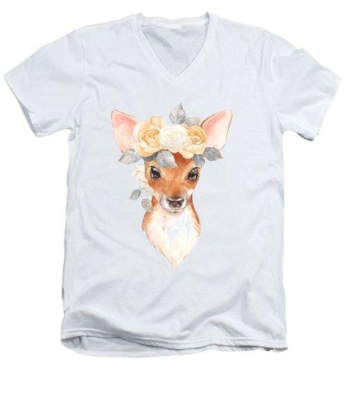 Blush Floral Deer Men's V-Neck T-Shirt
