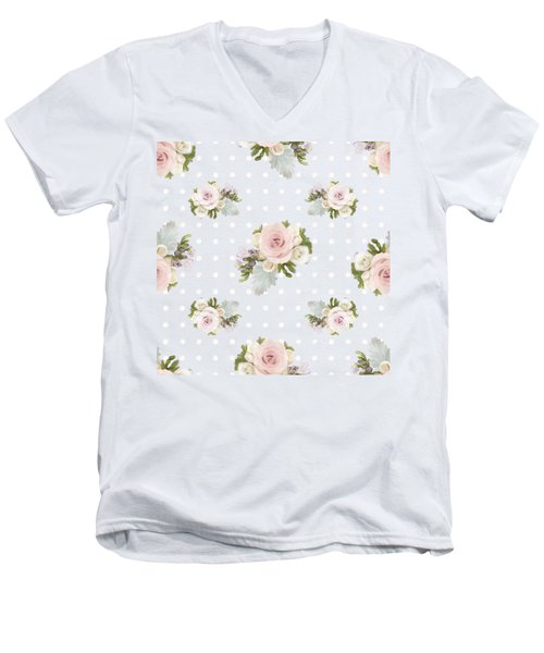 Blush Pink Floral Rose Cluster W Dot Bedding Home Decor Art Men's V-Neck T-Shirt by Audrey Jeanne Roberts