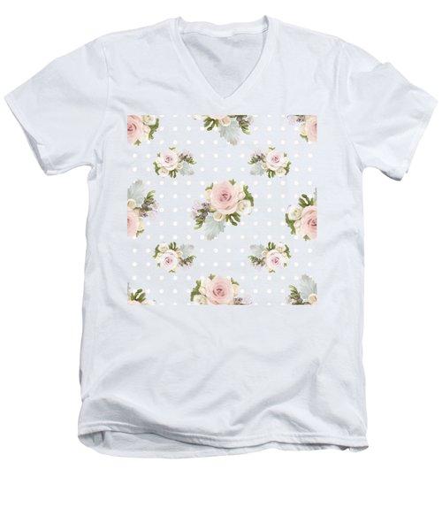 Blush Pink Floral Rose Cluster W Dot Bedding Home Decor Art Men's V-Neck T-Shirt