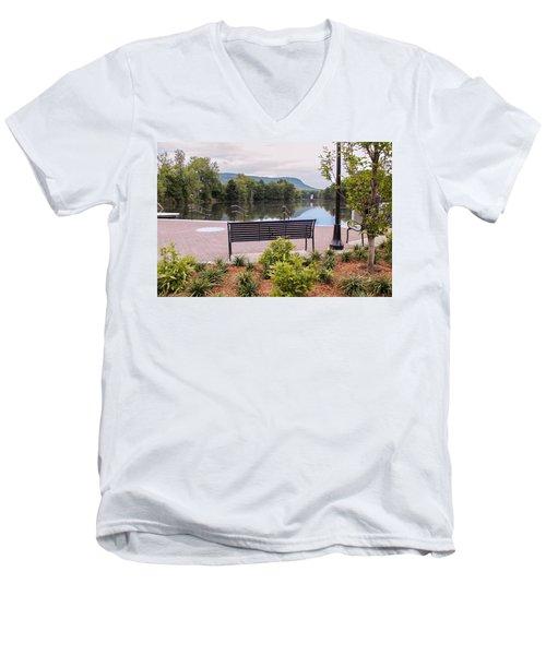 Men's V-Neck T-Shirt featuring the photograph Boardwalk At Nashawannuck Pond by Sven Kielhorn