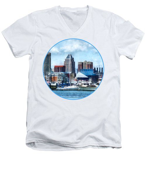 Boat - Baltimore Skyline And Harbor Men's V-Neck T-Shirt