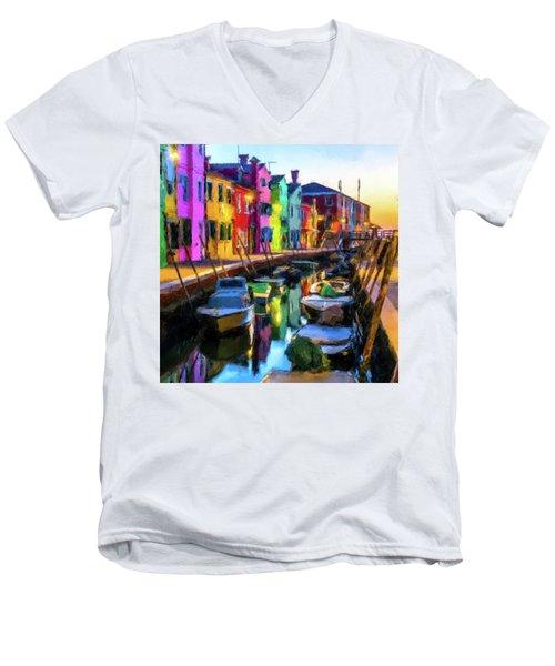 Boat Canal Men's V-Neck T-Shirt