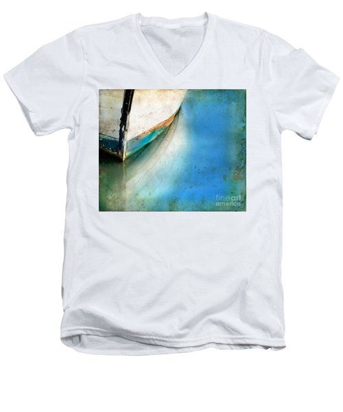 Men's V-Neck T-Shirt featuring the photograph Bow Of An Old Boat Reflecting In Water by Jill Battaglia