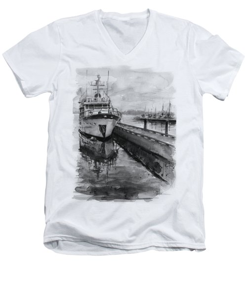 Boat On Waterfront Marina Kirkland Washington Men's V-Neck T-Shirt by Olga Shvartsur