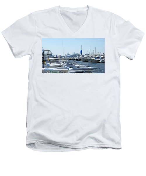 Men's V-Neck T-Shirt featuring the photograph Boat Show On The Bay by Charles Kraus