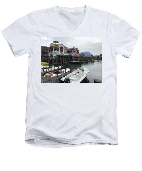 Boat Yard Men's V-Neck T-Shirt by Michael Albright