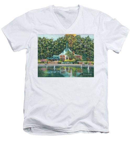 Boathouse In Central Park, N.y. Men's V-Neck T-Shirt