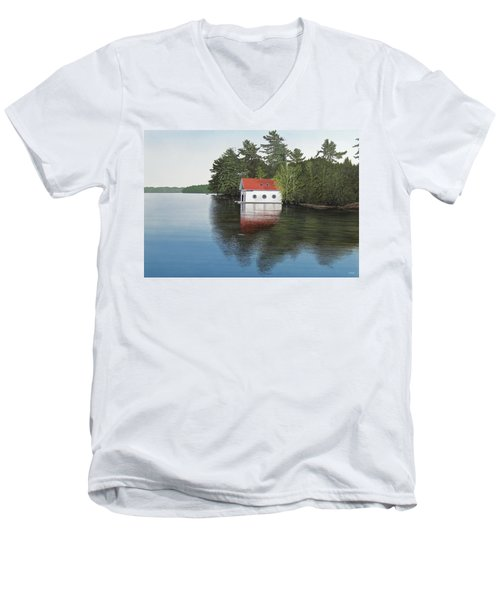 Boathouse Men's V-Neck T-Shirt by Kenneth M  Kirsch