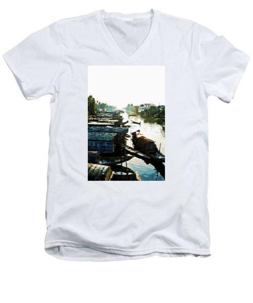 Boathouses In Vietnam Men's V-Neck T-Shirt