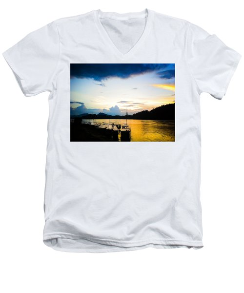 Boats In The Mekong River, Luang Prabang At Sunset Men's V-Neck T-Shirt