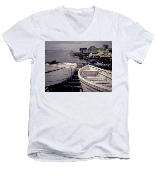 Boats Near Peggys Cove Men's V-Neck T-Shirt