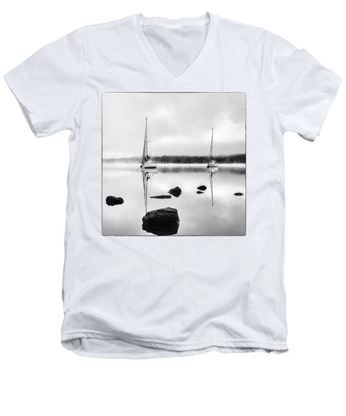 Boats On Ullswater In The Lake District Men's V-Neck T-Shirt