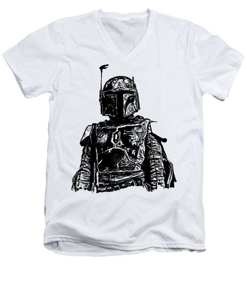 Boba Fett From The Star Wars Universe Men's V-Neck T-Shirt by Edward Fielding