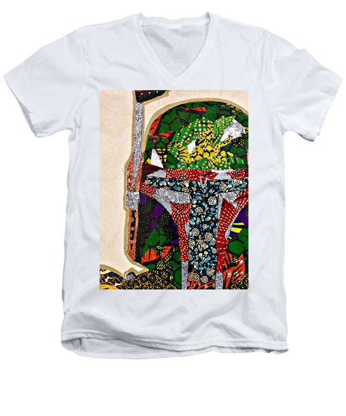 Men's V-Neck T-Shirt featuring the tapestry - textile Boba Fett Star Wars Afrofuturist Collection by Apanaki Temitayo M