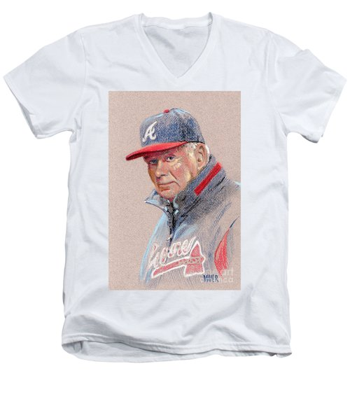 Bobby Cox Men's V-Neck T-Shirt by Donald Maier