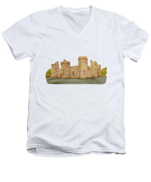 Bodiam Castle Men's V-Neck T-Shirt by Angeles M Pomata