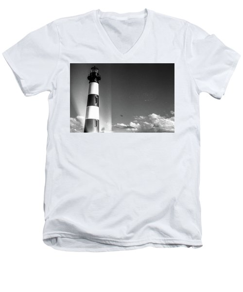 Bodie Island Lighthouse Men's V-Neck T-Shirt by David Sutton