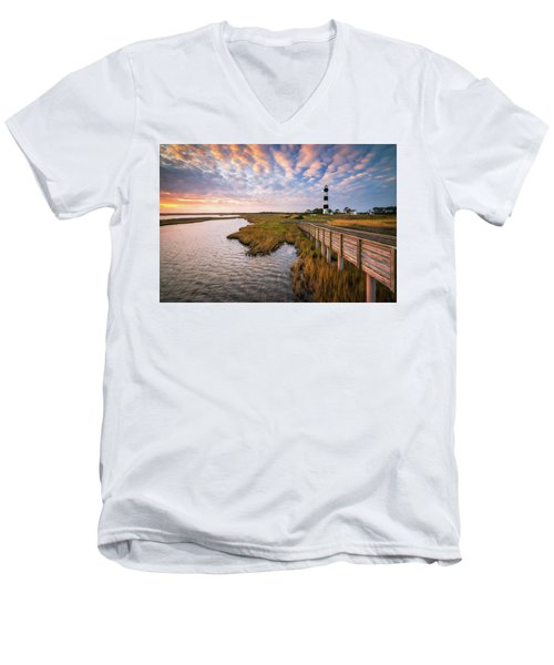 Bodie Island Lighthouse Outer Banks North Carolina Obx Nc Men's V-Neck T-Shirt