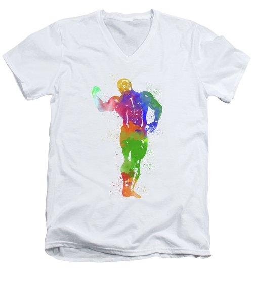Bodybuilder Watercolor 1 Men's V-Neck T-Shirt