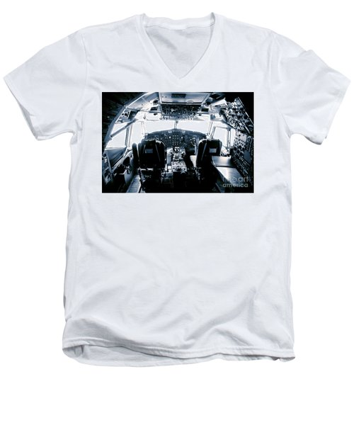 Men's V-Neck T-Shirt featuring the photograph Boeing 747 Cockpit 22 by Micah May