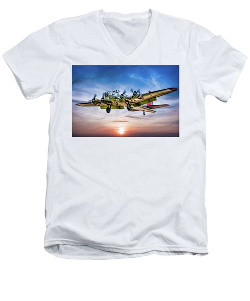 Men's V-Neck T-Shirt featuring the photograph Boeing B17g Flying Fortress Yankee Lady by Chris Lord