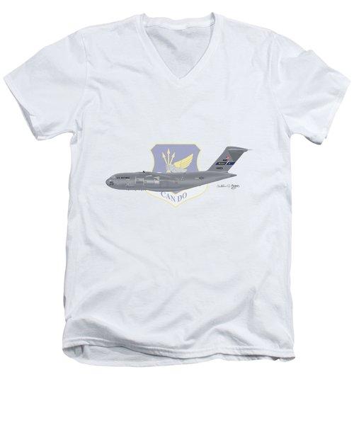 Men's V-Neck T-Shirt featuring the digital art Boeing C-17 Globemaster IIi Mcguire Afb by Arthur Eggers