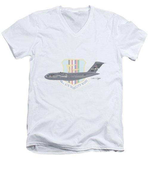 Men's V-Neck T-Shirt featuring the digital art Boeing C-17 Globemaster IIi Travis Afb by Arthur Eggers