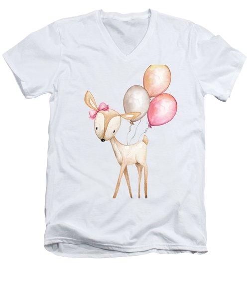 Boho Deer With Balloons Men's V-Neck T-Shirt