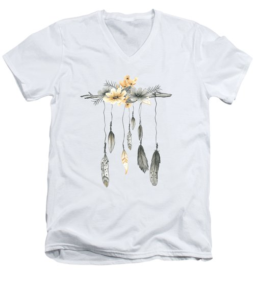 Boho Feathers Floral Branch Men's V-Neck T-Shirt