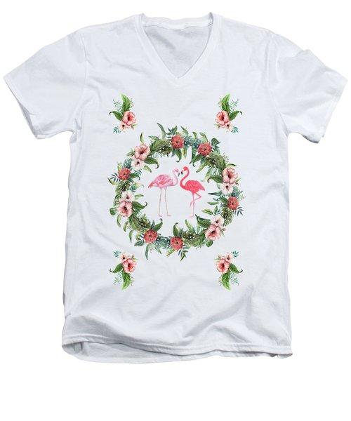 Boho Floral Tropical Wreath Flamingo Men's V-Neck T-Shirt