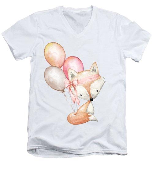 Boho Fox With Balloons Men's V-Neck T-Shirt