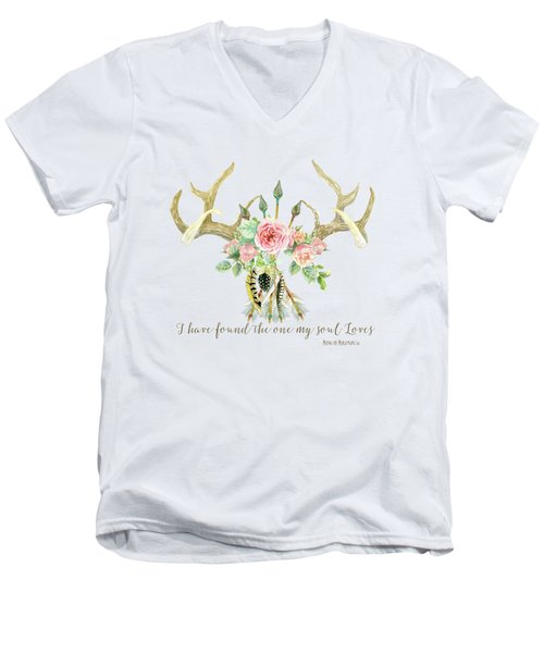 Men's V-Neck T-Shirt featuring the painting Boho Love - Deer Antlers Floral Inspirational by Audrey Jeanne Roberts