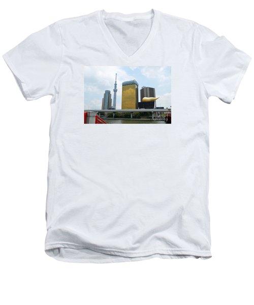 Men's V-Neck T-Shirt featuring the digital art Tokyo Bokutei Dori  by Eva Kaufman