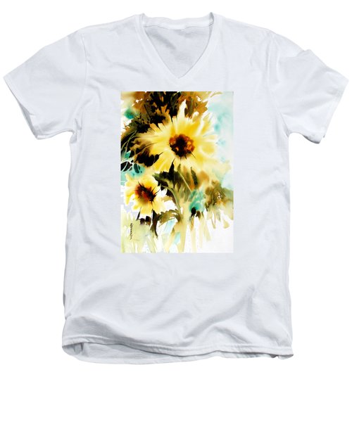 Men's V-Neck T-Shirt featuring the painting Bold And Beautiful by Rae Andrews