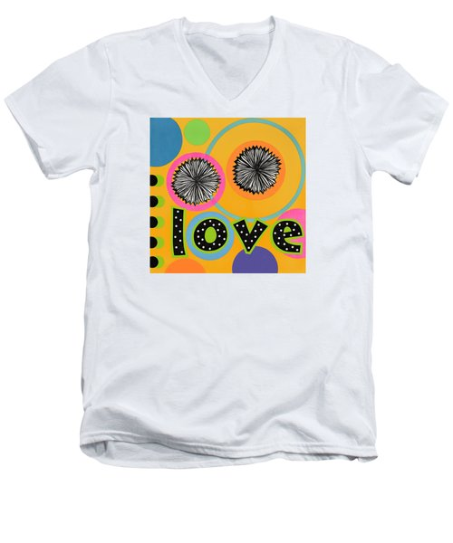 Men's V-Neck T-Shirt featuring the mixed media Bold Love by Gloria Rothrock