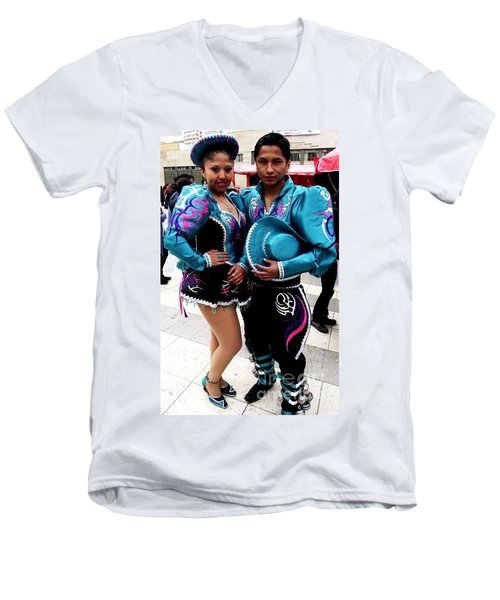 Bolivian Couple Dancers Men's V-Neck T-Shirt