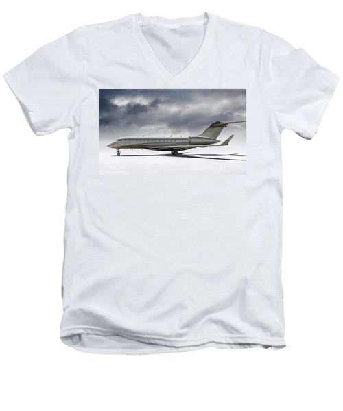 Men's V-Neck T-Shirt featuring the digital art Bombardier Global 5000 by Douglas Pittman