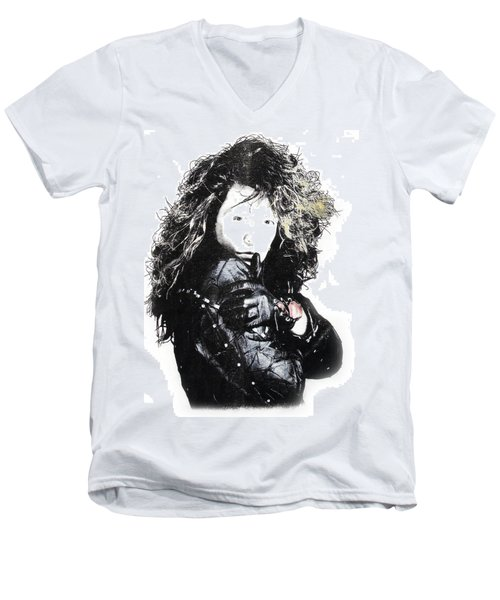 Men's V-Neck T-Shirt featuring the digital art Bon Jovi by Gina Dsgn