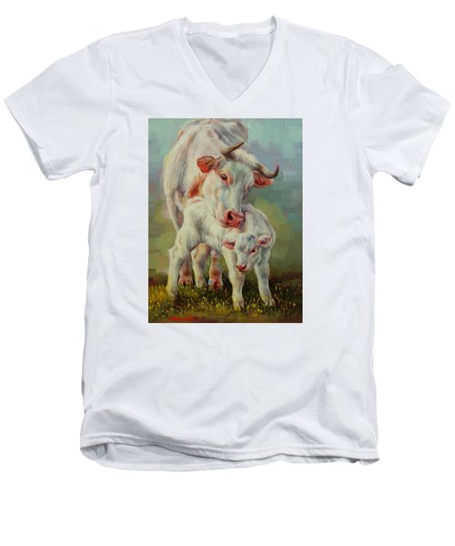 Bonded Cow And Calf Men's V-Neck T-Shirt by Margaret Stockdale