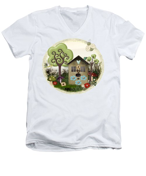 Bonnie Memories Whimsical Mixed Media Men's V-Neck T-Shirt by Sharon and Renee Lozen