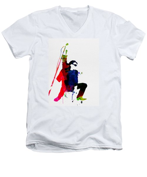 Bono Watercolor Men's V-Neck T-Shirt by Naxart Studio