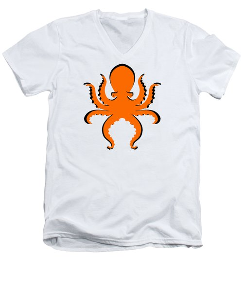 Men's V-Neck T-Shirt featuring the photograph Boo The Big Orange Octopus  by Edward Fielding