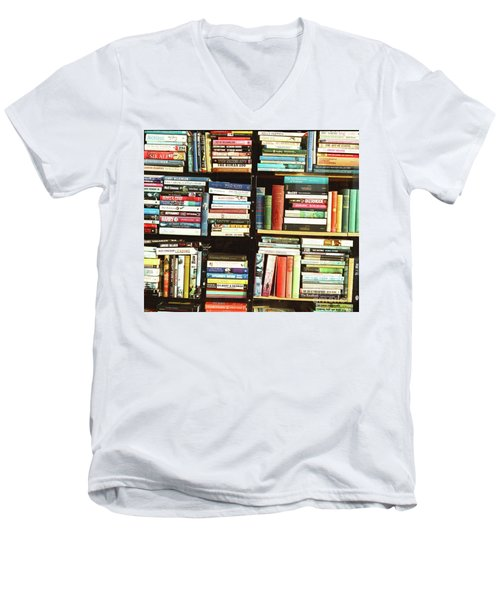Men's V-Neck T-Shirt featuring the photograph Book Shop by Rebecca Harman